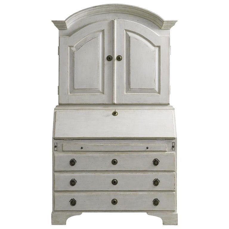 Distressed White Painted Gustavian Style Bureau, Secretaire For Sale