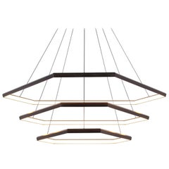 Ditri Cascade III DXC52, Hexagon Modern Triple Tier Chandelier Light Fixture