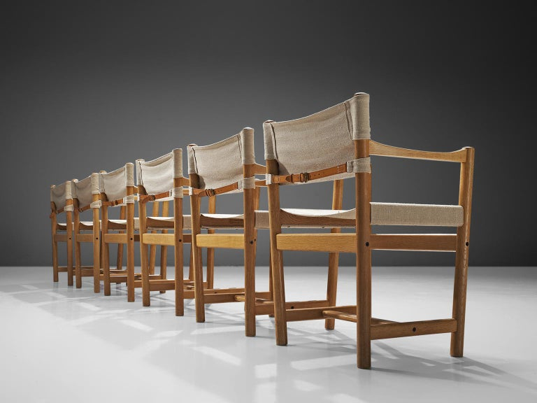 Scandinavian Modern Ditte and Adrian Heath Armchairs Six Armchairs in Canvas and Oak, 1960 For Sale