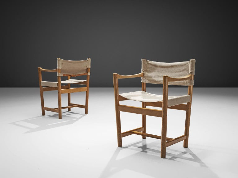 Danish Ditte and Adrian Heath Armchairs Six Armchairs in Canvas and Oak, 1960 For Sale