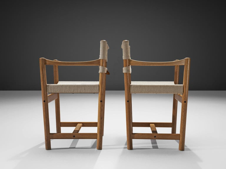 Ditte and Adrian Heath Armchairs Six Armchairs in Canvas and Oak, 1960 In Good Condition For Sale In Waalwijk, NL