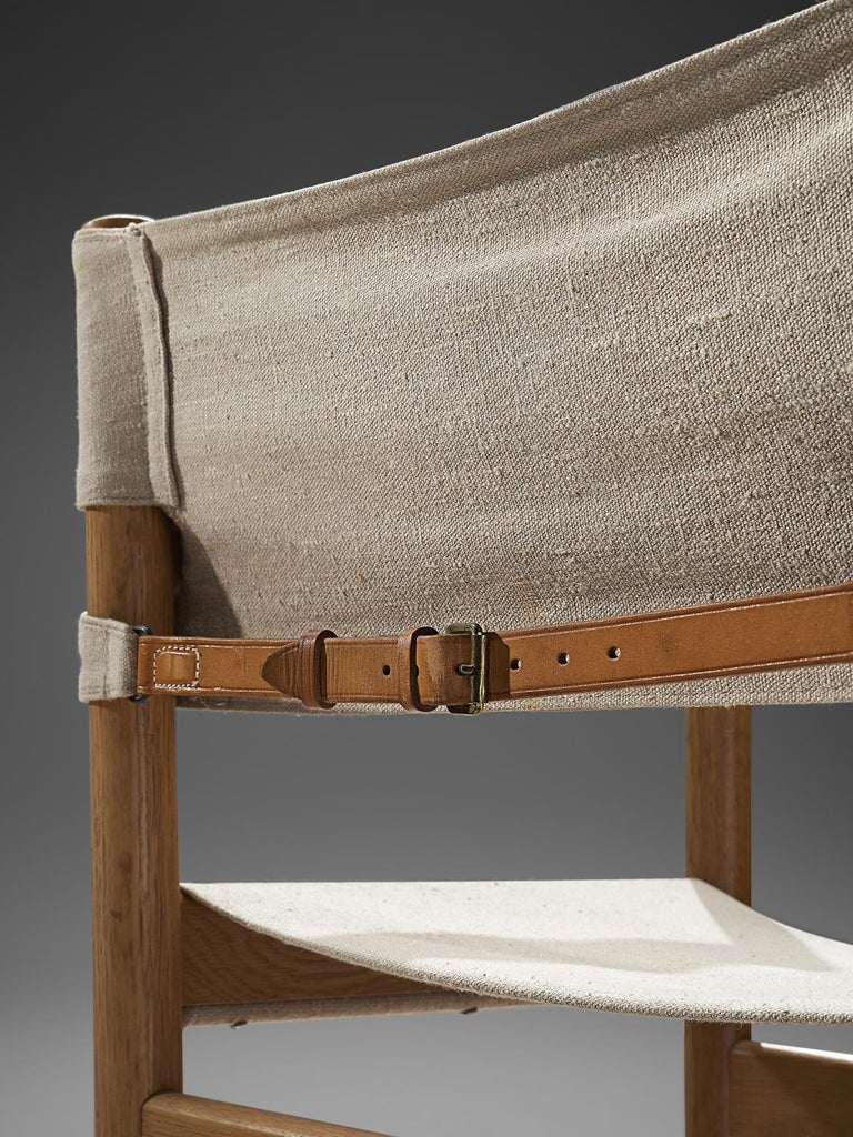 Mid-20th Century Ditte and Adrian Heath Armchairs Six Armchairs in Canvas and Oak, 1960 For Sale