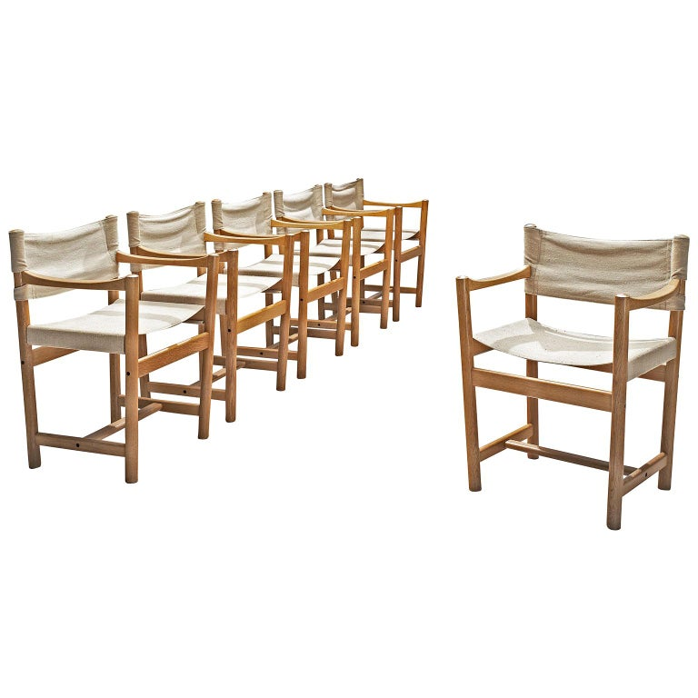 Ditte and Adrian Heath Armchairs Six Armchairs in Canvas and Oak, 1960 For Sale