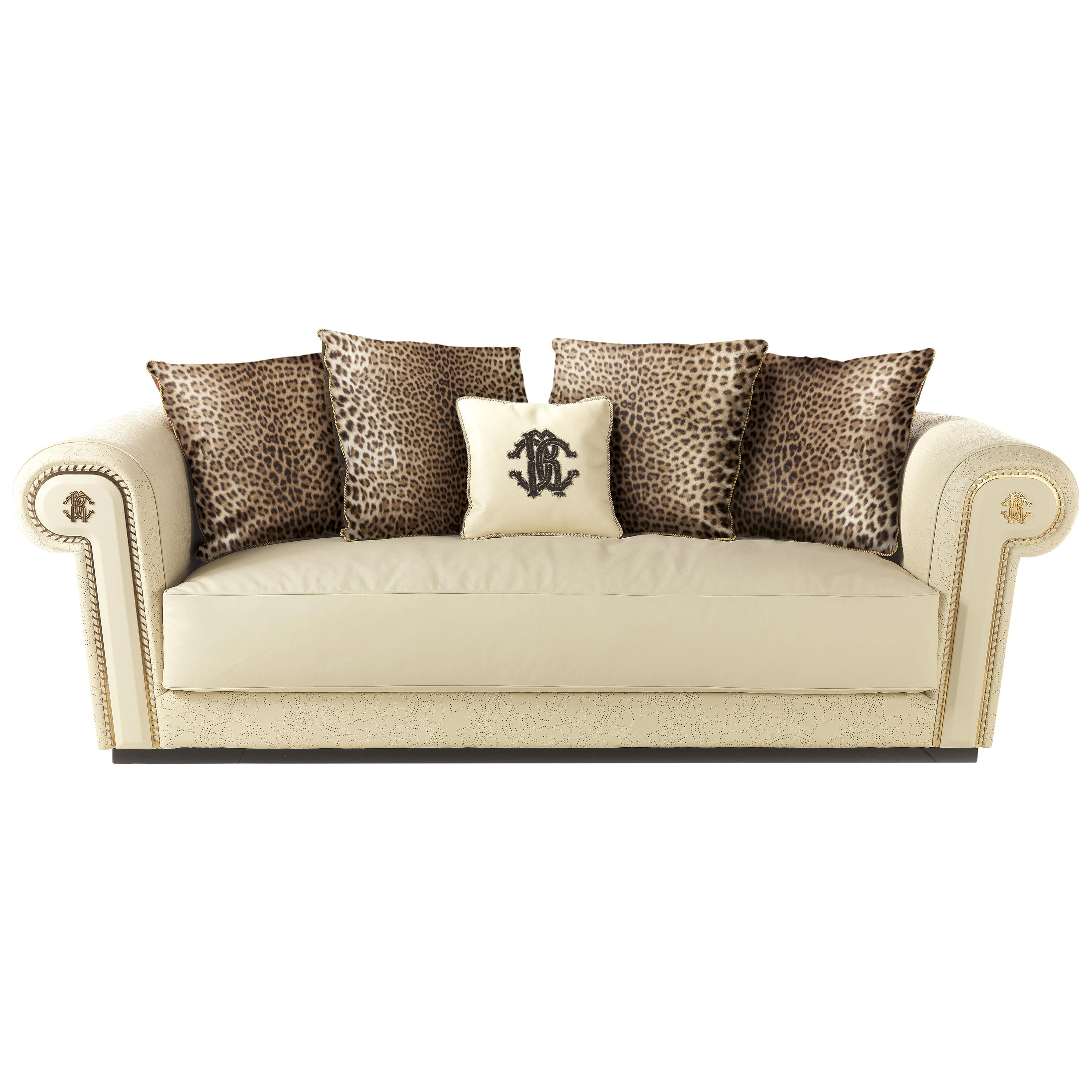 Diva 3-Seater Sofa in Leather by Roberto Cavalli Home Interiors