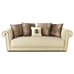 Diva 3-Seat Sofa in Leather by Roberto Cavalli