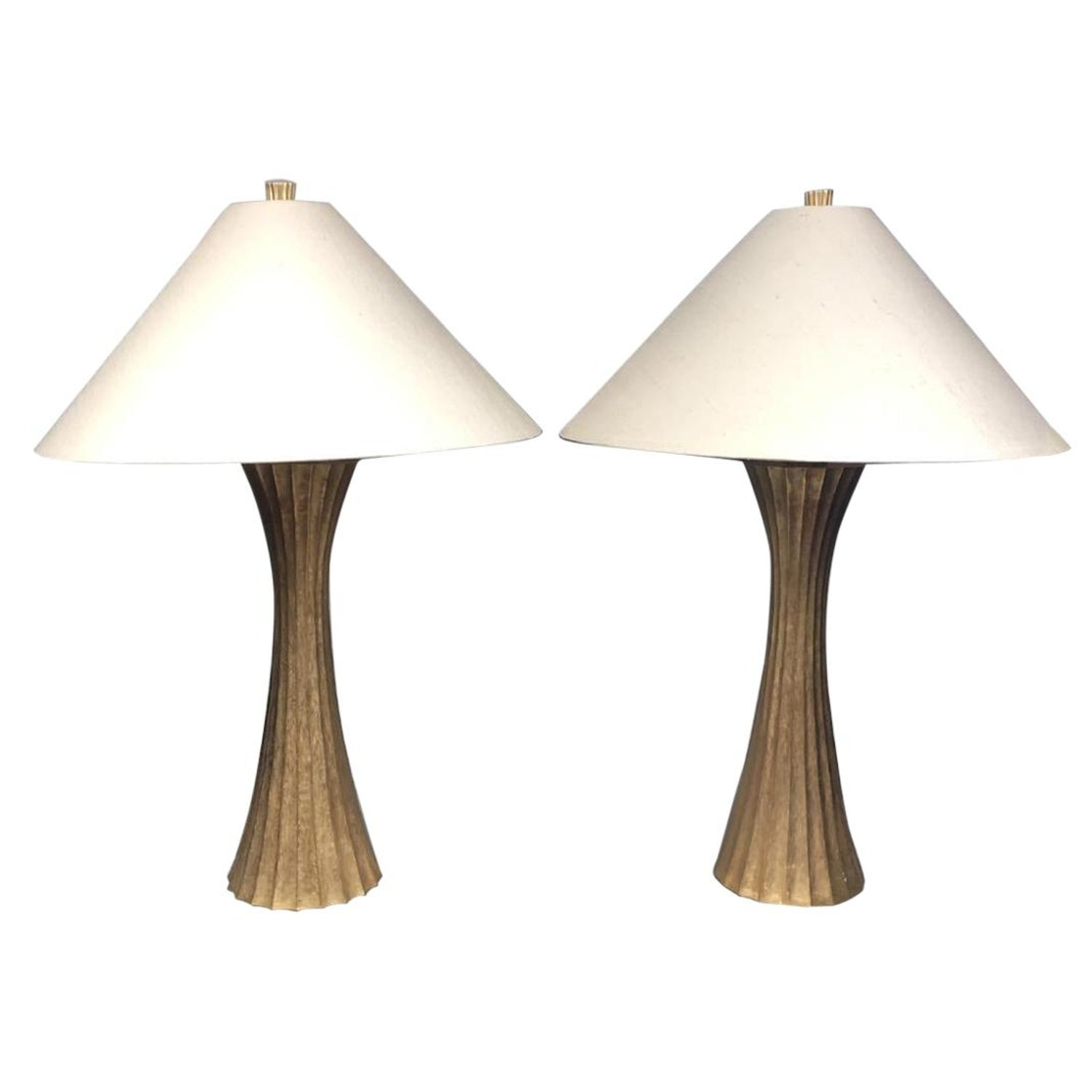 Diva Table Lamp In Burnished Br By Robert Kuo For Mcguire