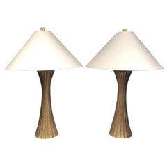 Diva Table Lamp in Burnished Brass by Robert Kuo for McGuire