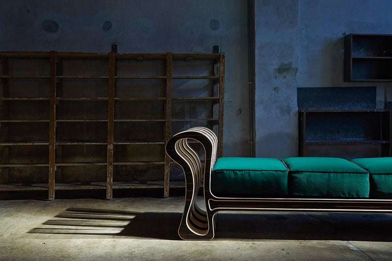 The Baroque-inspired style of this chaise longue is meant to create an elegant reaction between the forms of the surrounding space and the eclectic shapes of this voluptuous piece. Being an innovative practice of combining furniture with the concept