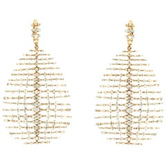 Diva's Skeleton Chandelier Earrings in 18 Karat Rose Gold and Brilliant Diamonds