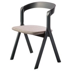 Diverge Chair in Wood Structure, Dove Gray Cushion, by Skrivo Design