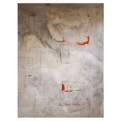 """""""Diversion"""", 2018, Abstract Mixed-Media Painting on Canvas, White, Gray, Orange"""