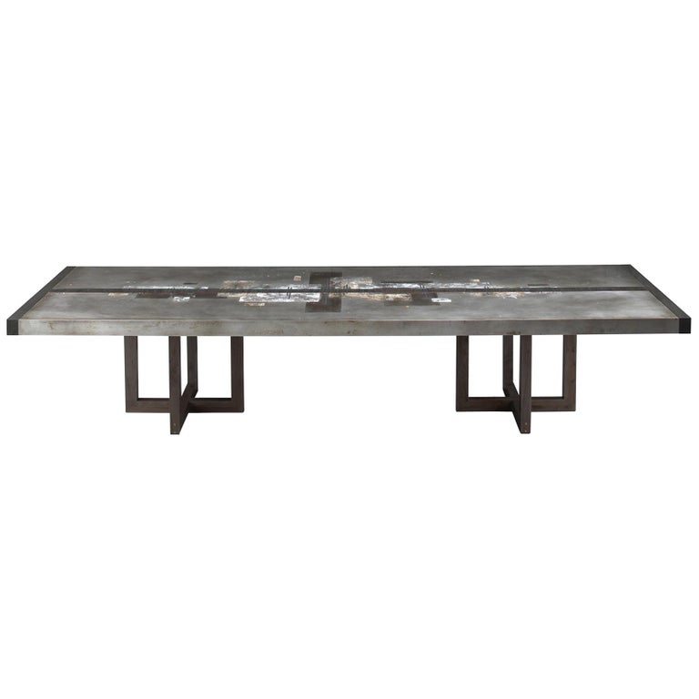 """Divided Lands"" Etched Zinc Dining Table by Artist/Designer Florian Roeper For Sale"