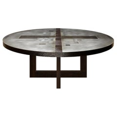 """""""Divided Lands"""" Zinc Round Dining Table with Frame Base by Artist Florian Roeper"""
