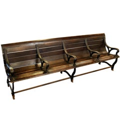Divided Wood and Iron Bench