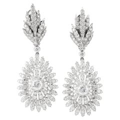 Buccellati Diamond Peacock Motif Platinum Dangling Earrings