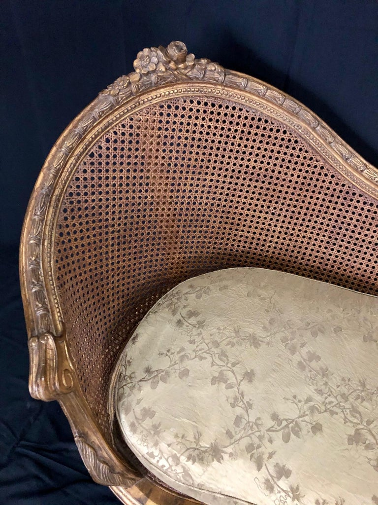Divine Curved Back French 19th Century Louis XV Style Gilt Caned Loveseat Settee For Sale 7
