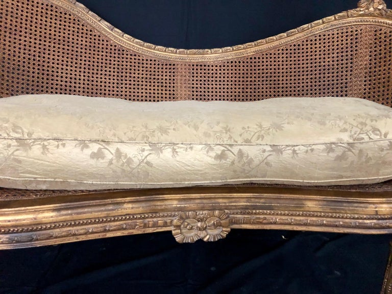 Divine Curved Back French 19th Century Louis XV Style Gilt Caned Loveseat Settee For Sale 8