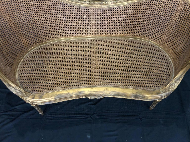 Divine Curved Back French 19th Century Louis XV Style Gilt Caned Loveseat Settee For Sale 9