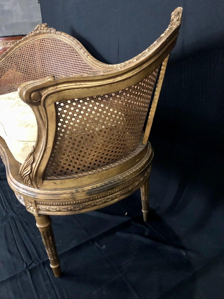 Divine Curved Back French 19th Century Louis XV Style Gilt Caned Loveseat Settee For Sale 10