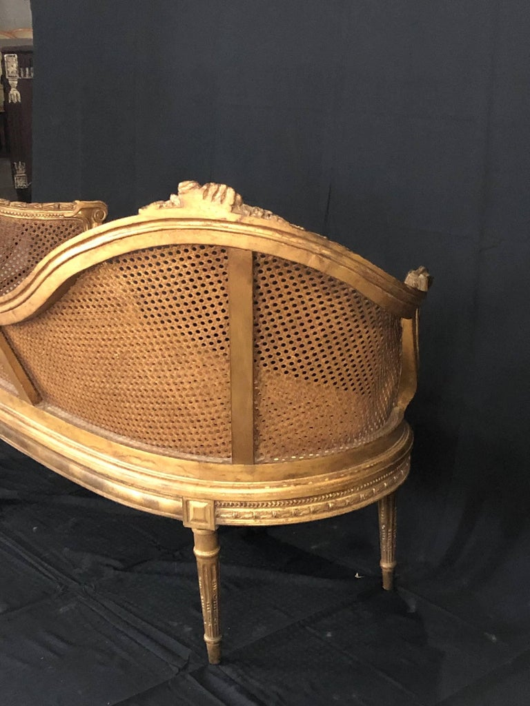Divine Curved Back French 19th Century Louis XV Style Gilt Caned Loveseat Settee For Sale 12