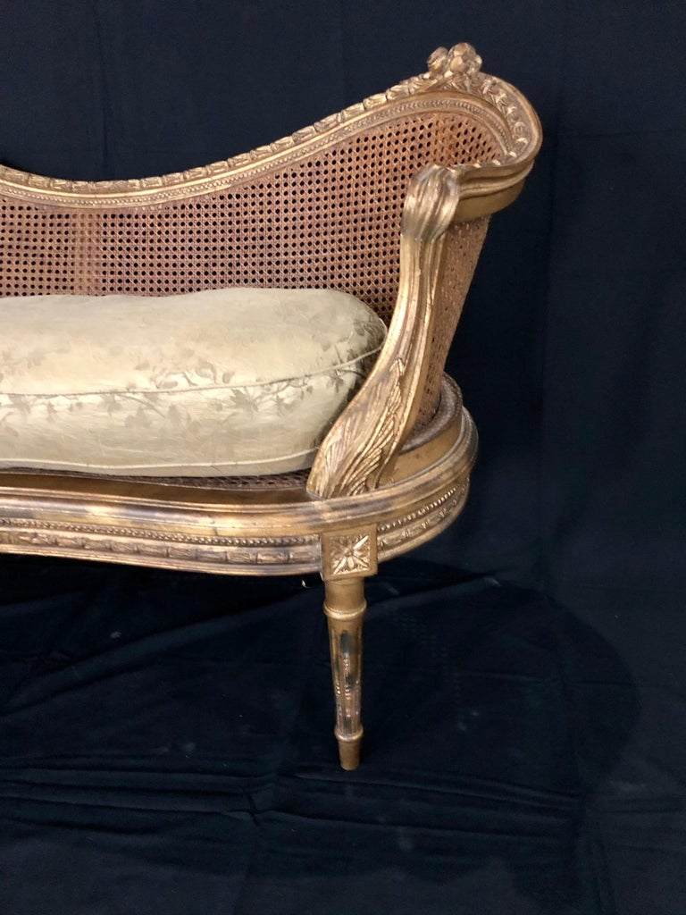 Divine Curved Back French 19th Century Louis XV Style Gilt Caned Loveseat Settee In Good Condition For Sale In Hopewell, NJ