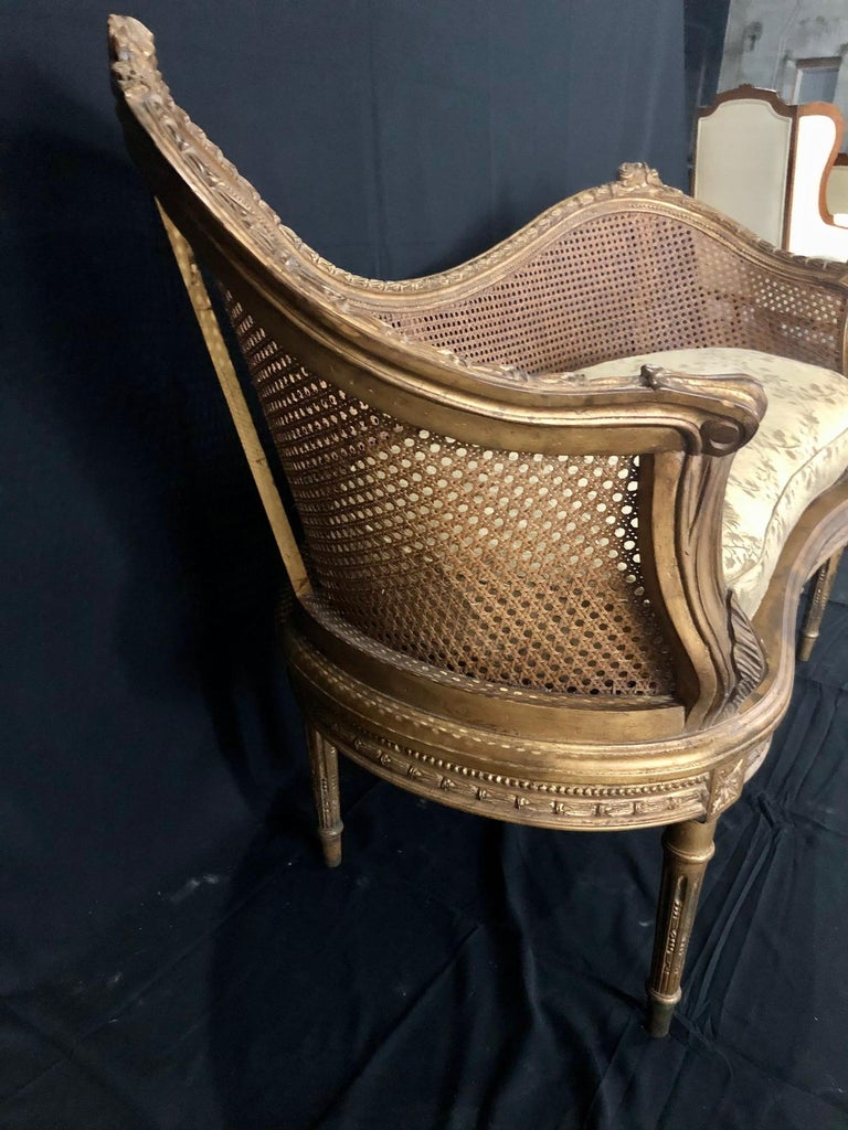 Divine Curved Back French 19th Century Louis XV Style Gilt Caned Loveseat Settee For Sale 1