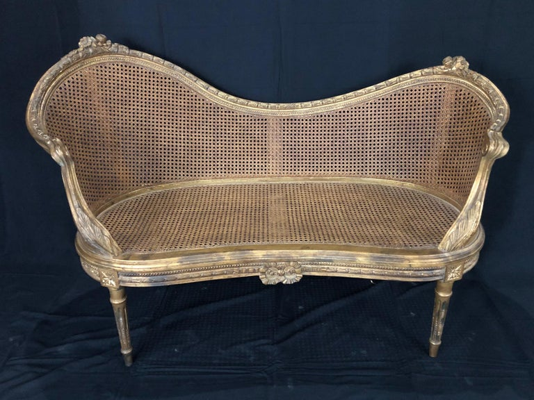 Divine Curved Back French 19th Century Louis XV Style Gilt Caned Loveseat Settee For Sale 2