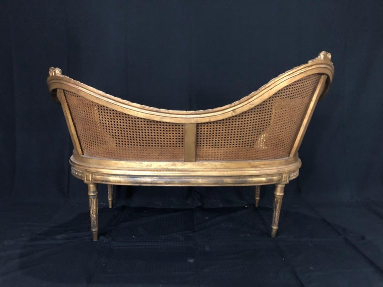 Divine Curved Back French 19th Century Louis XV Style Gilt Caned Loveseat Settee For Sale 3