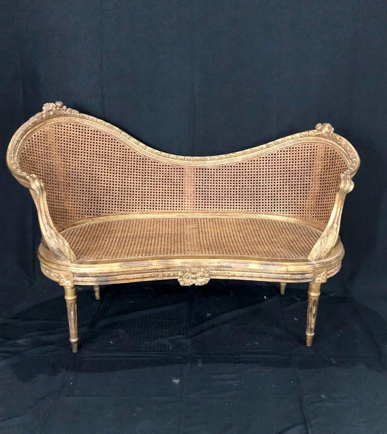 Divine Curved Back French 19th Century Louis XV Style Gilt Caned Loveseat Settee For Sale 4