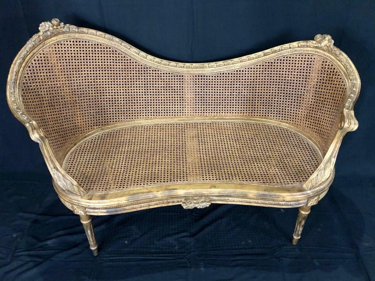 Divine Curved Back French 19th Century Louis XV Style Gilt Caned Loveseat Settee For Sale 5