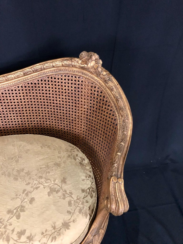 Divine Curved Back French 19th Century Louis XV Style Gilt Caned Loveseat Settee For Sale 6