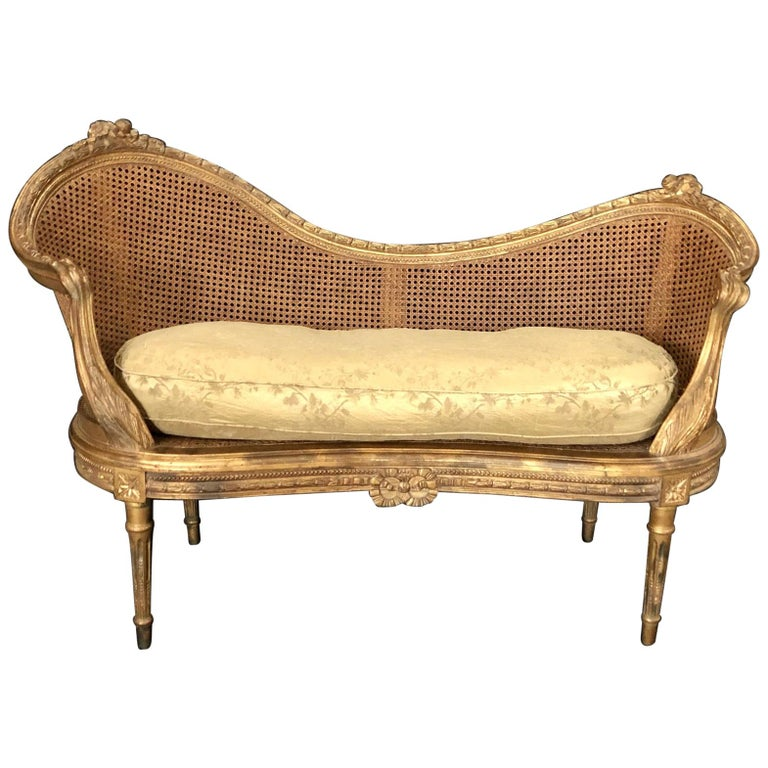 Divine Curved Back French 19th Century Louis XV Style Gilt Caned Loveseat Settee For Sale