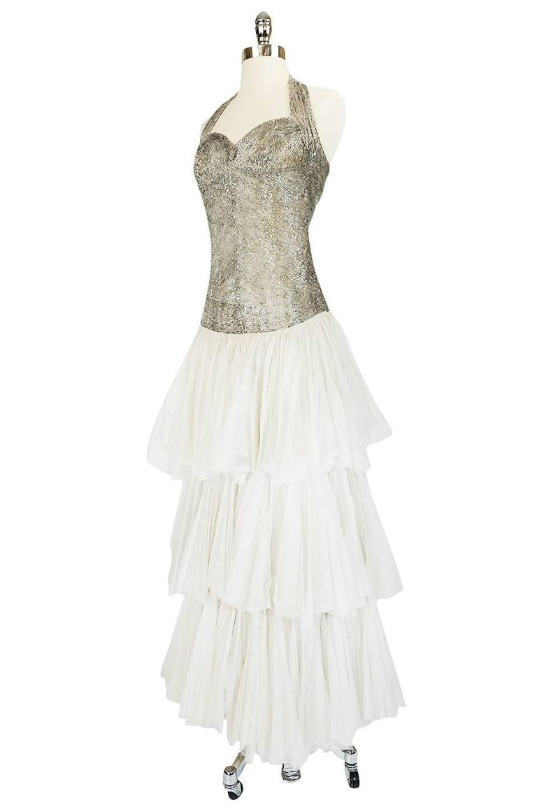 Gray Divine Late 1920s Hand Beaded & Silk Tulle Princess Gown For Sale