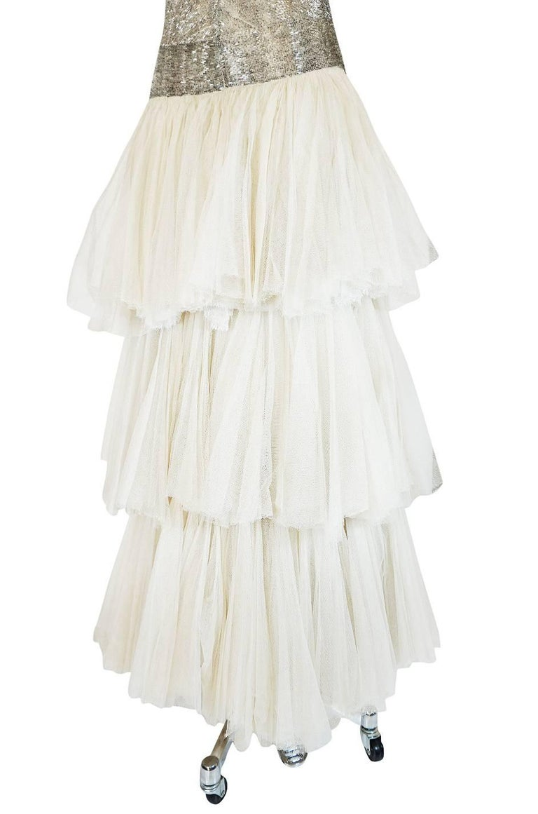 Divine Late 1920s Hand Beaded & Silk Tulle Princess Gown In Excellent Condition For Sale In Rockwood, ON