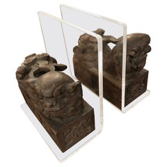 Divine Pair of Carved Wood Foo Dogs and Lucite Bookends