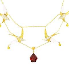 Diving Swallow Bird Necklace 3.5 Carat Diamond Natural Pearl Sapphire Garnet 18K