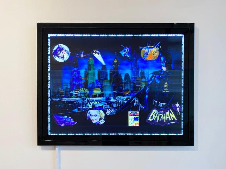 Batman in Gotham, 3D Backlit Digital Print by DJ Leon, 28 x 45 in For Sale 1