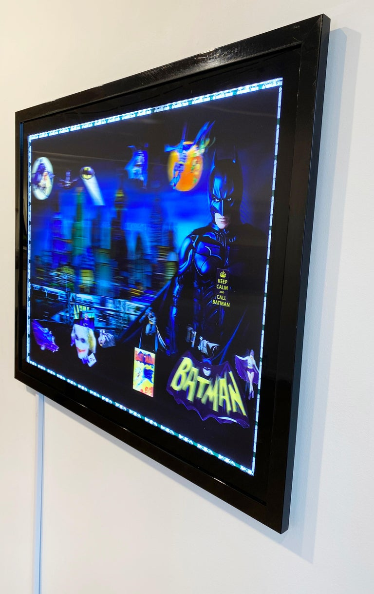 Batman in Gotham, 3D Backlit Digital Print by DJ Leon, 28 x 45 in For Sale 2