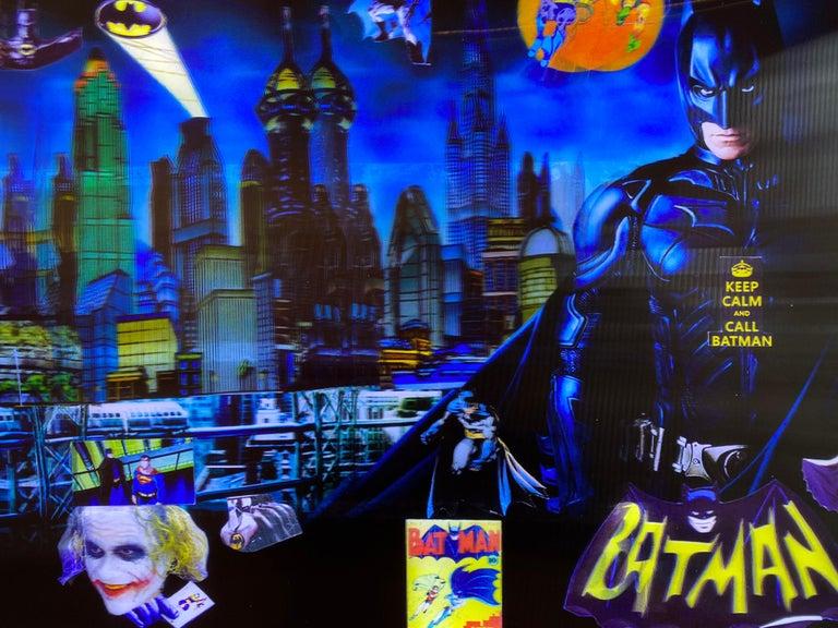 Batman in Gotham, 3D Backlit Digital Print by DJ Leon, 28 x 45 in For Sale 3