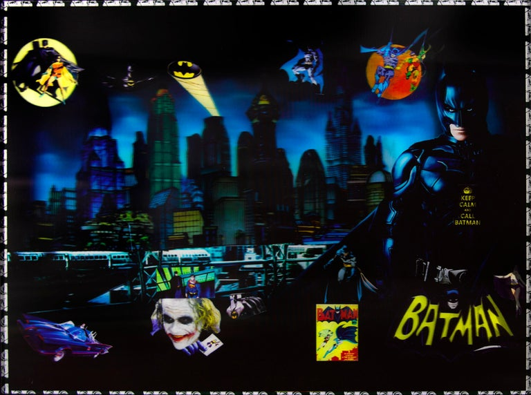 'Batman in Gotham' by DJ Leon, 2015. The piece measures 28 x 45 inches, Ed. of 10.  This 3D backlit print incorporates images and text found in batman comics. Embedded LEDs are placed behind the digital print to reveal three-dimensional images as