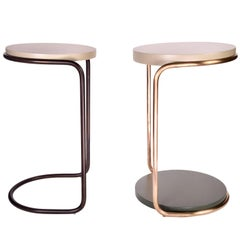 Mid-Century Modern Style Side Table Bronze and Painted Wood by Carbonell Design