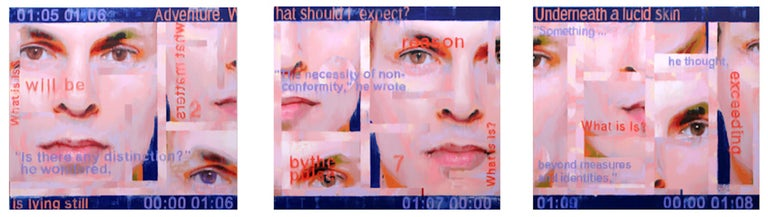 Picture of Time and Identity Contemporary Large Blue and Pink Faces - Painting by Djawid Borower