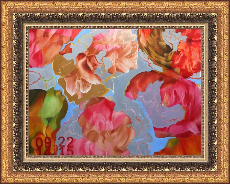 Time and Nature 141001 Floral Contemporary Large Original Painting - Brown Landscape Painting by Djawid Borower
