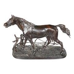 'Djinn Etalon Arabe' Patinated Bronze Study of a Horse by Pierre-Jules Mêne