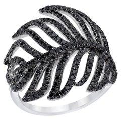 D'Jula 18 Karat White Gold Feather Ring with 1.00 Carat Black Diamonds