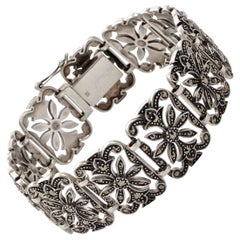 DK English Sterling Silver and Marcasite Panel Link Bracelet