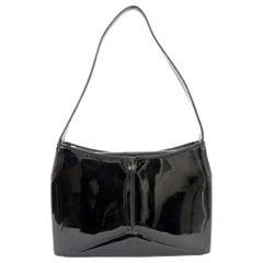 DKNY Donna Karan Black Rigid Patent Leather Shoulder Bag