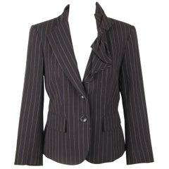 DKNY DONNA KARAN Wool Blue Pinstriped BLAZER Jacket with Bow SIZE 2