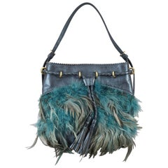 DKNY Metallic Blue Leather Handbag with Blue Grey Feathers Gold Tone Fittings
