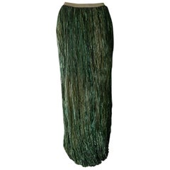 "DKNY ""New"" Green Metalic Fiber Pleated Maxi Skirt - Unworn"